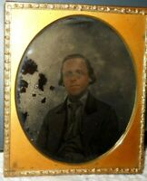 Colorful Young Man in 1/6th size Ambrotype in brass frame