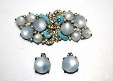 Vintage Blue Moonglow Rhinestone & Enamel Coro Duette & Matching Clip Earrings