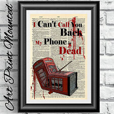 Art print original antique book page MOUNTED telephone quote mobile phone art