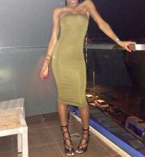 Missguided Bodycon Bandeau Strapless Midi Dress Khaki Green Dress Size UK 6