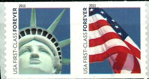 Lady Liberty & Flag Coil Pair COLOR SHIFT MNH Scott's 4488 to 4489