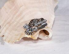 Vintage brooch pin silver tone clear rhinestone