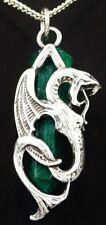 Exquisite Laides Sterling Silver DRAGON & MALACHITE Gemstone Pendant Great Gift
