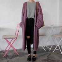 Women's Long Sleeve Warm Knitted Sweater Trench Coat Jacket Cardigan Outwear