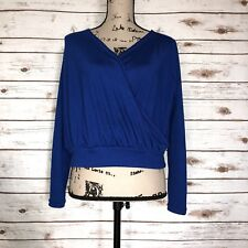 Cupshe Womens Size Small Blue Wrap Long Sleeve V Neck Blouse