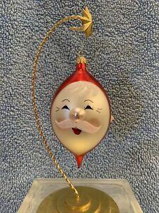 de carlini christmas ornaments Santa Face Handblown Italian Glass