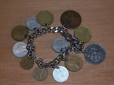 Vintage Charm Bracelet made with coins So Africa one centavo Pakistan 1957