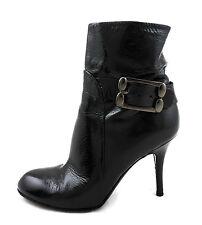 Sergio Rossi Stiefelette 37 high heels schwarz grau Lack leather boots  wie neu