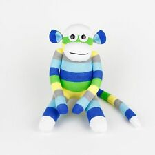 Handmade White Face Green Striped Sock Monkey Stuffed Animals Doll Baby Toys