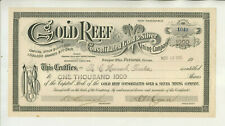 1905 GOLD REEF CONSOLIDATED GOLD & SILVER MINING COMPANY STOCK CERTIFICATE