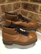 Rare Vintage DR MARTENS Hiking Leather Brown Boots Size 8 EU42 (steel Toe Cap)