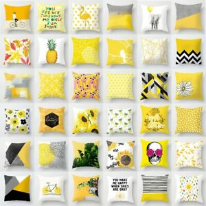 18'' Yellow Throw Pillow Case Waist Cushion Cover Home Car Seat Decor Square