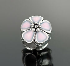 Pink Cherry Blossom Enamel Flower Beads Fit European Charm Bracelets