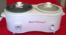 MASTER GOURMET DOUBLE CROCK POT WARMER/COOKER WITH REMOVABLE POTS