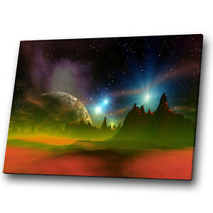 Fantasy Sci-fi Green Orange Night Landscape Canvas Wall Art Large Picture Prints