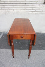Antique Federal Solid Walnut Drop Leaf Breakfast Sofa Side Table With Drawer