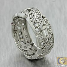 1930s Antique Art Deco Estate Platinum .68ctw Diamond 8mm Wide Band Ring