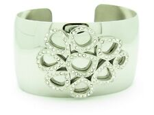 PLATINUM STAINLESS STEEL UNIQUE WHITE CRYSTAL VINTAGE CUFF BANGLE BRACELET GIFT