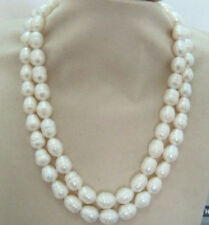 11-12mm natural Australian south sea white pearl necklace 36inch 14KGP