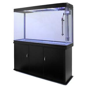 Aquarium Fish Tank Cabinet 300L LED Lighting 4ft Large Black Marine Tropical