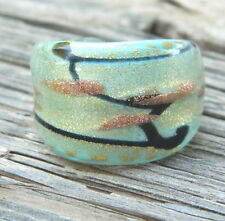 Dichroic Glass Fused Gold Specks Ring Size 7