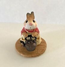 Teaberry Meadow Patty's Tea Kettle Like Wee Forest Folk Mint Bunny Figurine