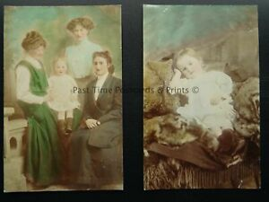 Portrait x 2 Dorothy Thompson & Family LEYBURN 3 St. Mary's Mount c1912 RP PC