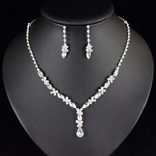 Floral Clear Crystal Rhinestone Necklace Earring Set Bridal Prom Pageant N78