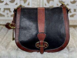 FOSSIL Vintage Reissue Two Toned Leather Saddle Satchel Crossbody Messenger Bag