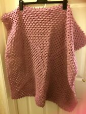 """New,hand crochet wool,baby blanket/throw,wheel chair cover,lilac speck,34"""" x 32"""""""