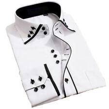 Mens Italian Shirts Casual Double Collar Slim Fit Button Down Long Sleeve Shirt