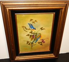 R.FURILLE VINTAGE BLUE BIRDS ON A GRAPE VINE OIL ON CANVAS PAINTING 1971