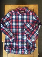 EUC Zara Girls' Flannel Button-Down Shirt in Red, White and Black, Size 11-12