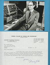 Dennis Gabor (Nobel Prize Physics 1971) Typed Letter Signed Nov. 14, 1972