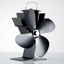 4 conception de lame chaleur alimenté combustion du bois mini stove top fan eco friendly noir