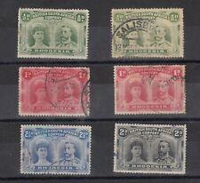 Rhodesia BSAC 1910 Double Heads x 6 MH/FU J9627