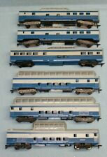 Six custom painted shorty Passenger Cars in a blue & grey paint scheme-All Domes