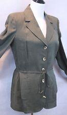 Dana Buchman Stunning Olive Green 100% Linen Shirt Jacket w/ Belt SZ 8 EUC