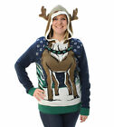 Ugly Christmas Sweater Plus Size Women's Hooded Reindeer Sweater
