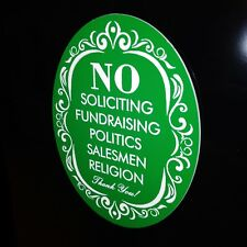 No Soliciting Sign plaque Funny door bell Laser Engraved  Romark style Plastic