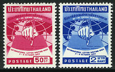 Thailand 345-346, MNH. Intl. Letter Writing Week. Hand with Pen, Globe, 1960