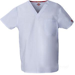 Dickies Scrubs Top UNISEX Men Women EDS Medical Scrub V-NECK Shirts Pocket 83706