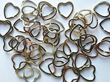 5 x Big Heart Shaped Split Rings Keyrings, 32mm x 3mm strong nickel plated steel