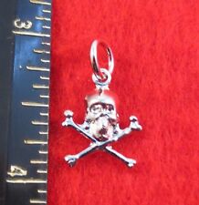 14KT WHITE GOLD EP SKELETON SKULL AND CROSSBONES CHARM PENDANT -A85
