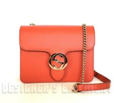 GUCCI orange ICONIC Leather INTERLOCKING G Mini CHAIN Cross-Body bag NWT Authent