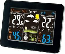 Atomic Wireless Weather Forecast Station with Remote Indoor Outdoor Sensor Black