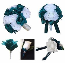 12pc set: Teal and White Artificial Roses Wedding Party