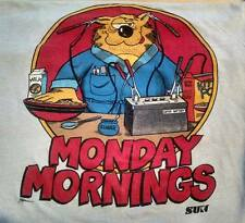 RARE Vintage 80s Light Grey Soft Cotton Monday Morning Cat T- Shirt Mens Large