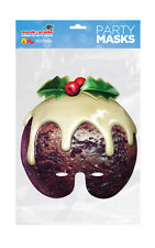 Christmas Pudding Half Face Party Mask A4 Card Fancy Dress Ladies Mens Kids Xmas