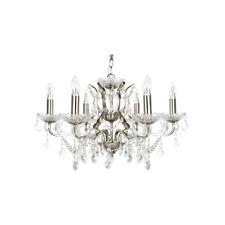 Searchlight 8736-6SS Paris 6 Light Chandelier Crystal Drops Satin Silver